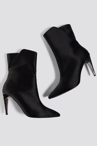Black Metallic Heel Satin Boots