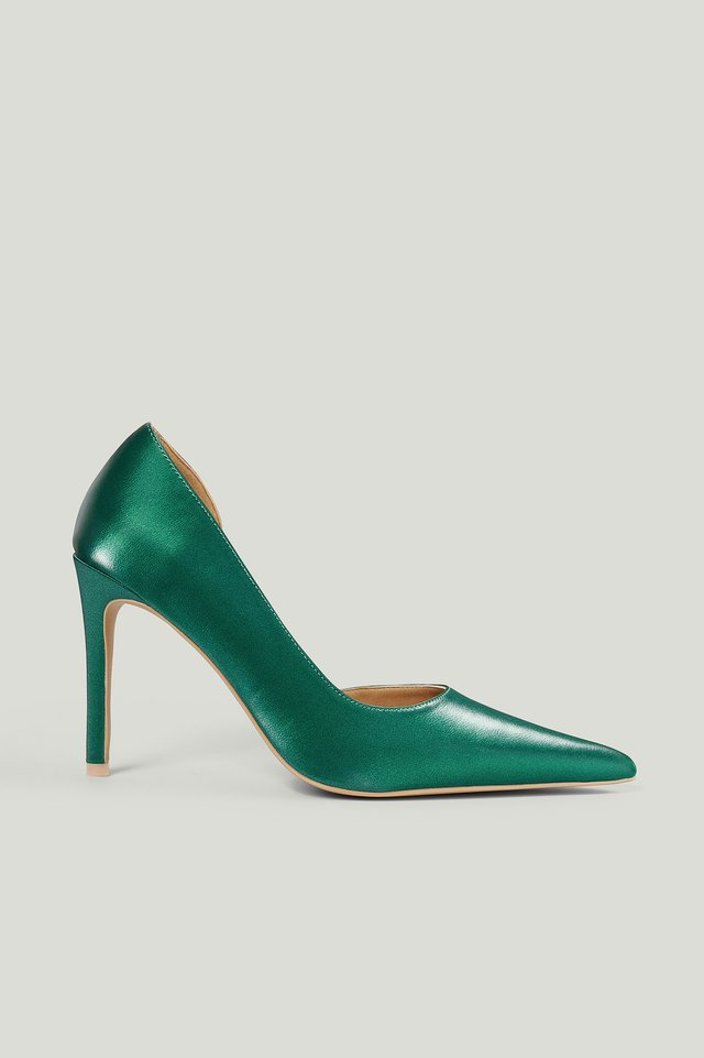 Dark Green Metallic Side Cut Pumps