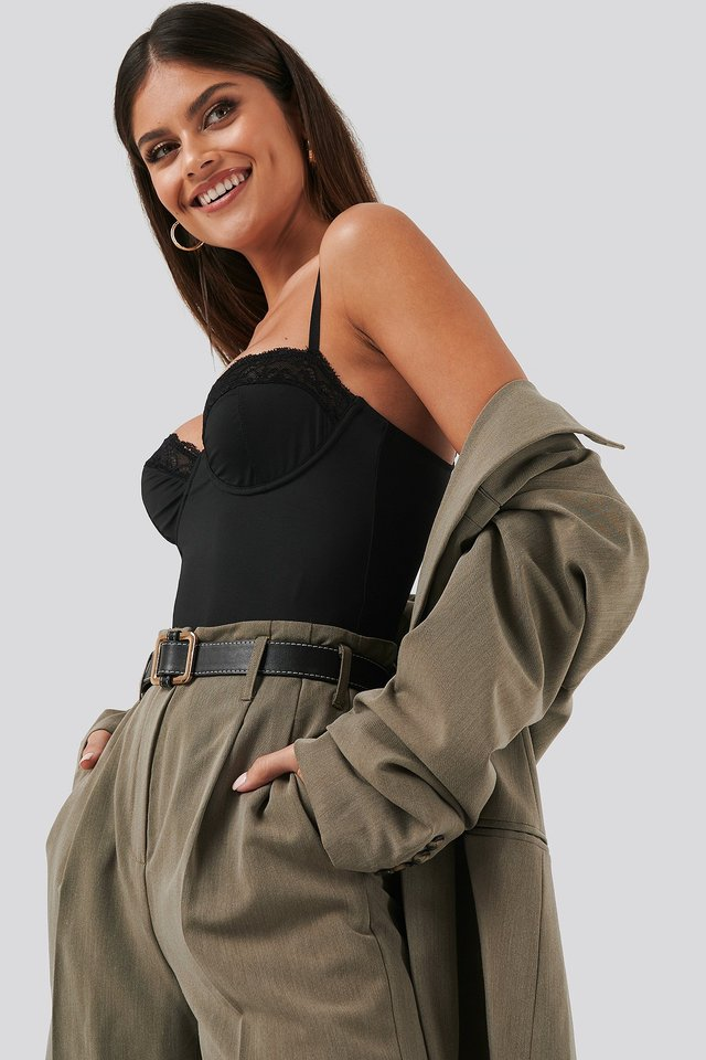 Micro Lace Bodysuit Black