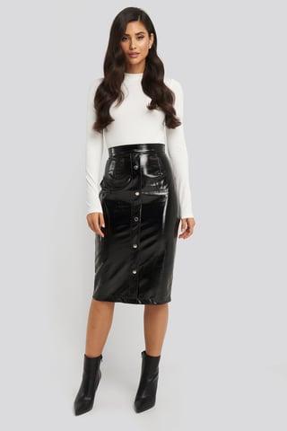 Black Mid Length Button Up Pu Skirt