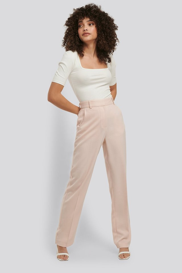 Mid Rise Creased Suit Pants Cream