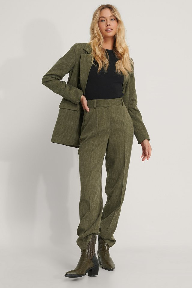 Mid Rise Creased Suit Pants Dark Green