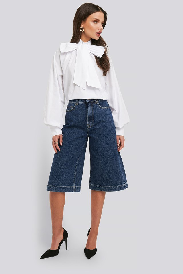 Mid Blue Wash Mid Rise Denim Culottes