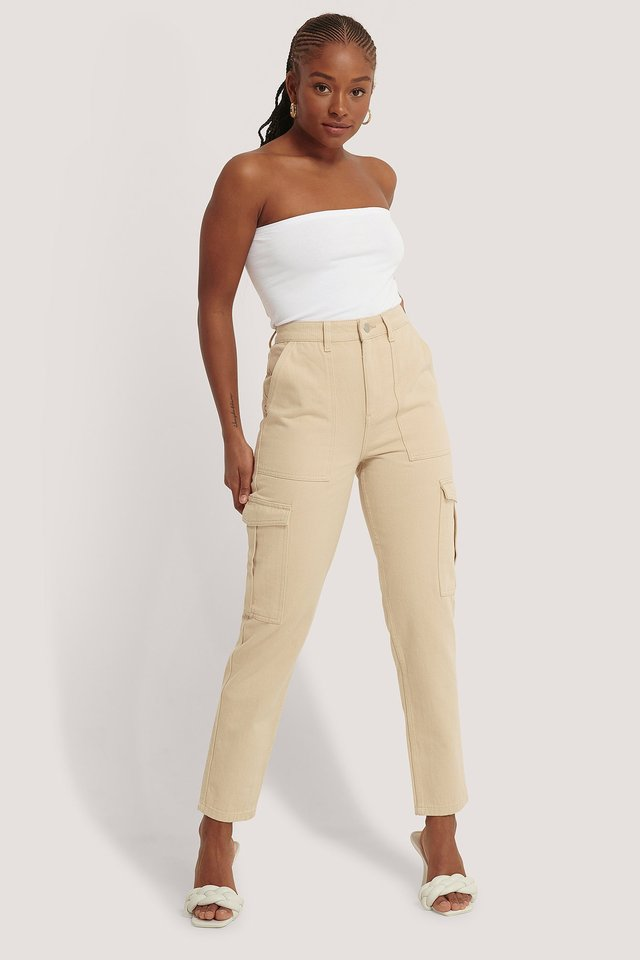 Mid Rise Pocket Denim Beige