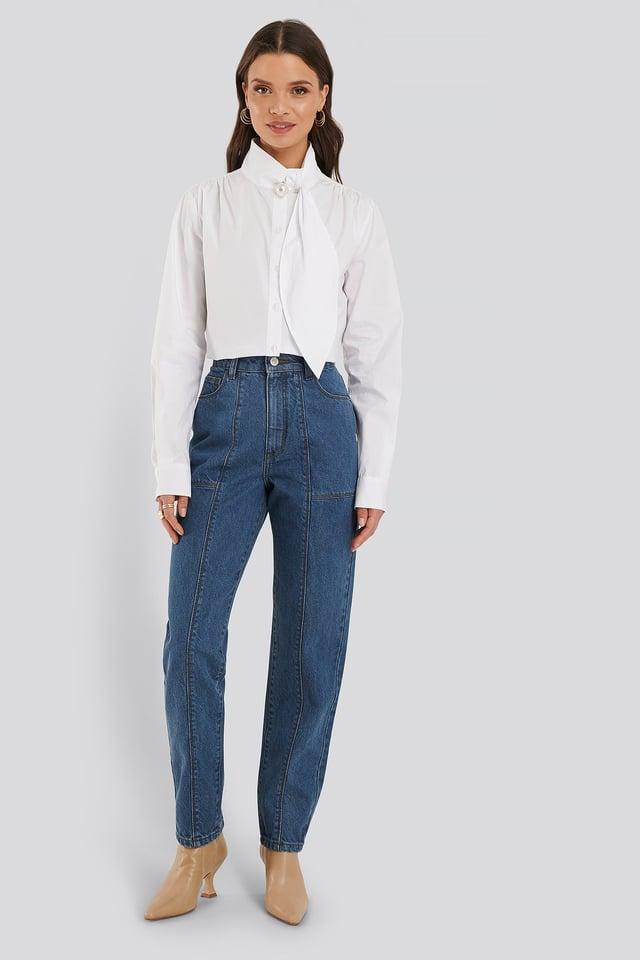Jeans Med Medelhög Midja Mid Blue