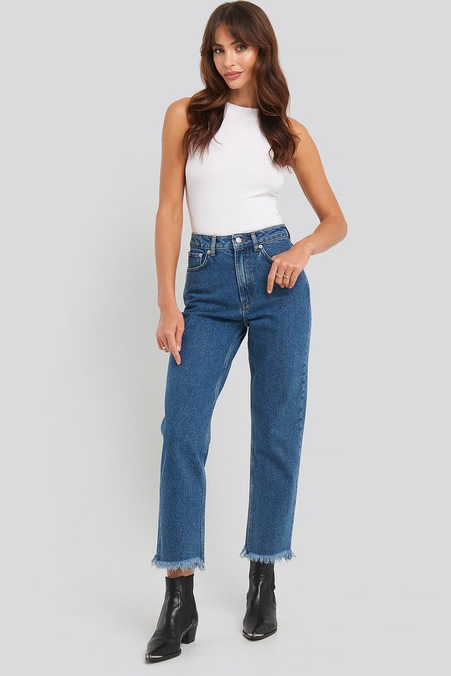 Mid Rise Straight Jeans Mid Blue