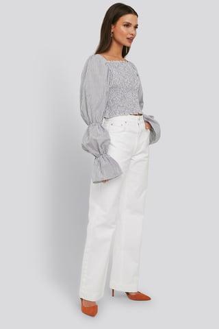 Optical White Mid Rise Straight Leg Jeans