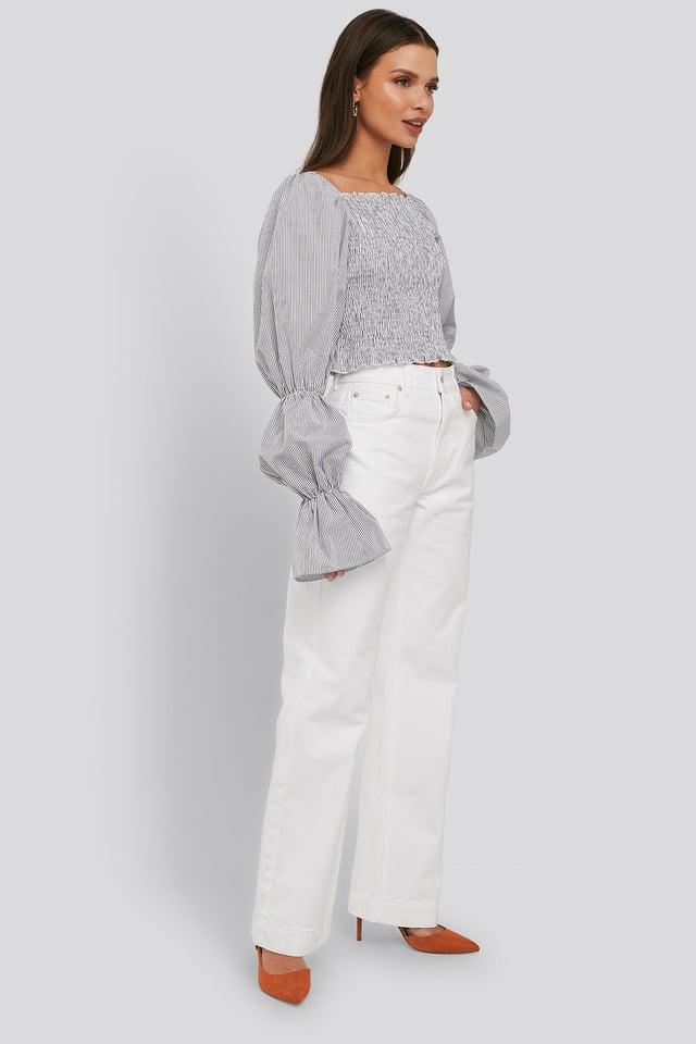 Mid Rise Straight Leg Jeans Optical White