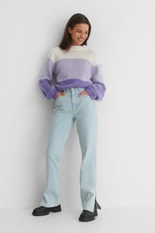 Light Wash Organisch Gerade Geschnittene Jeans Mit Mittlerer Taille