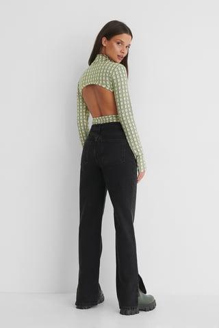 Washed Black Økologiske Jeans Med Lige Ben Og Miditalje