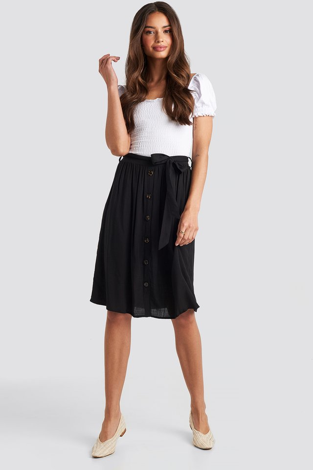 Midi Button Front Skirt Black