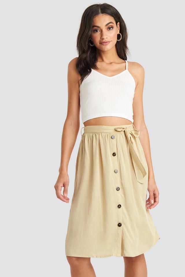 Midi Button Front Skirt Light Beige