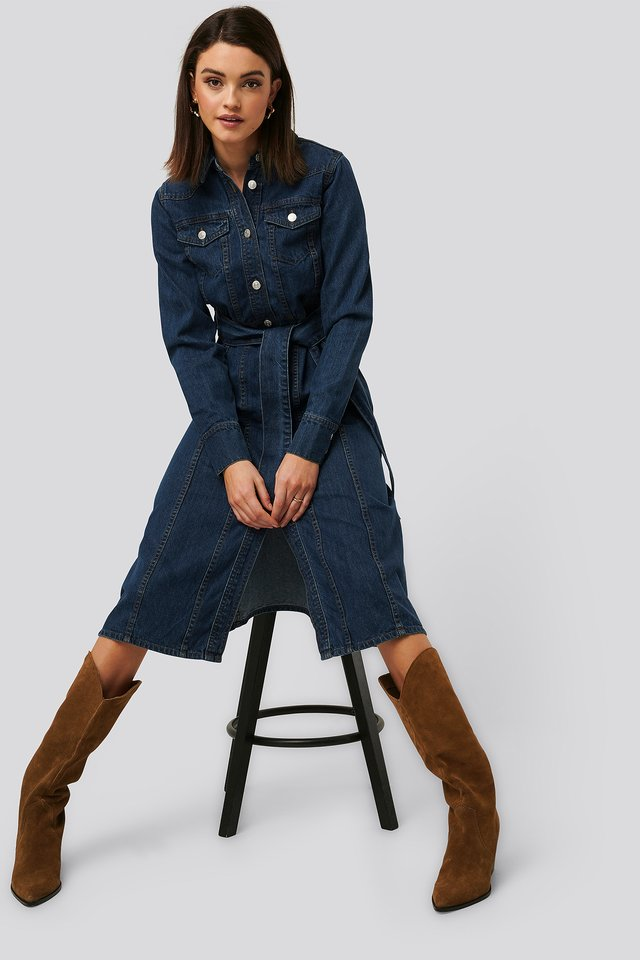 Midi Denim Dress Dark Blue