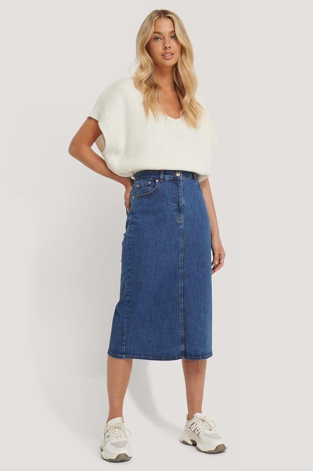 Blue Recycled Midi Denim Skirt