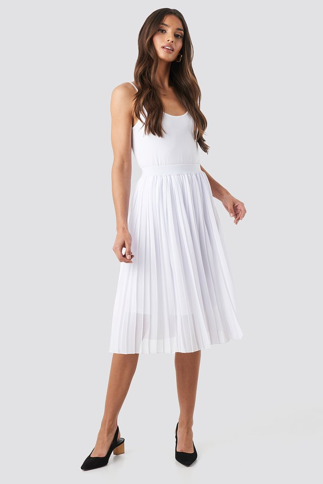 Midi Pleated Skirt White