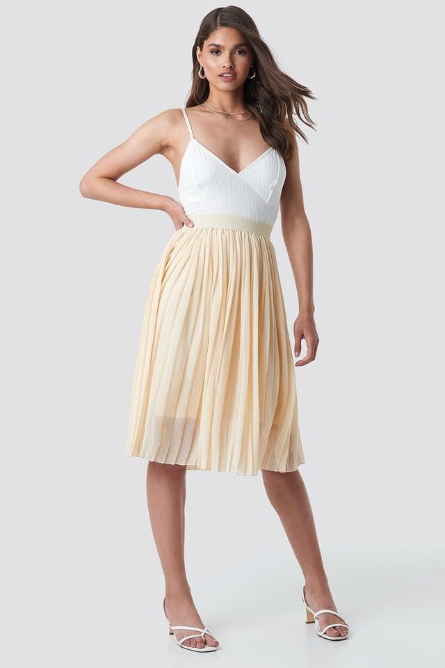 Midi Pleated Skirt Beige