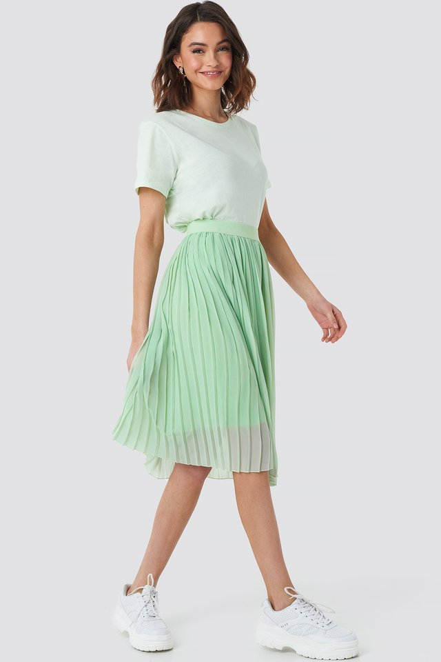 Midi Pleated Skirt Green