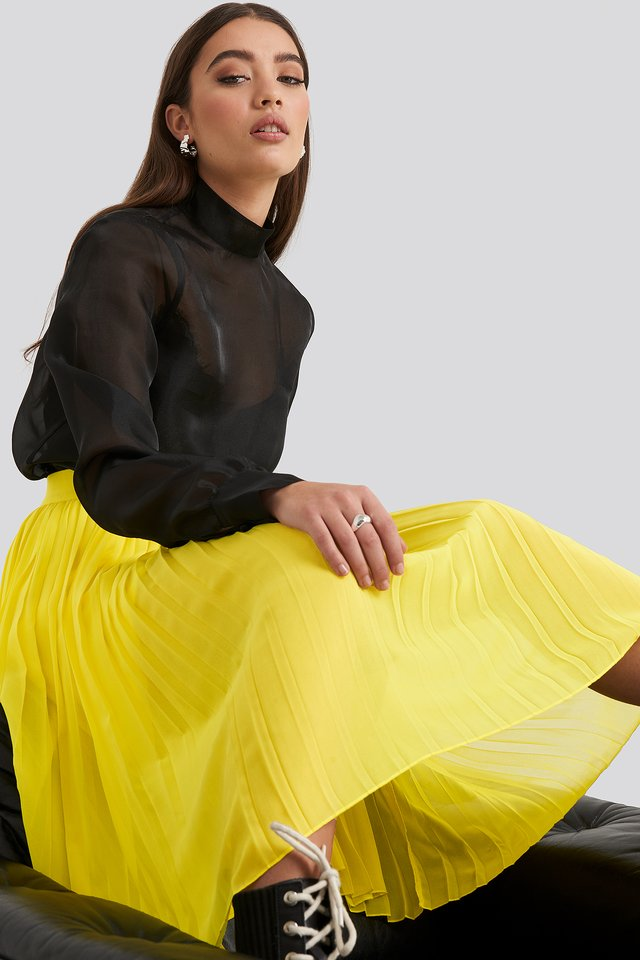 Midi Pleated Skirt Yellow