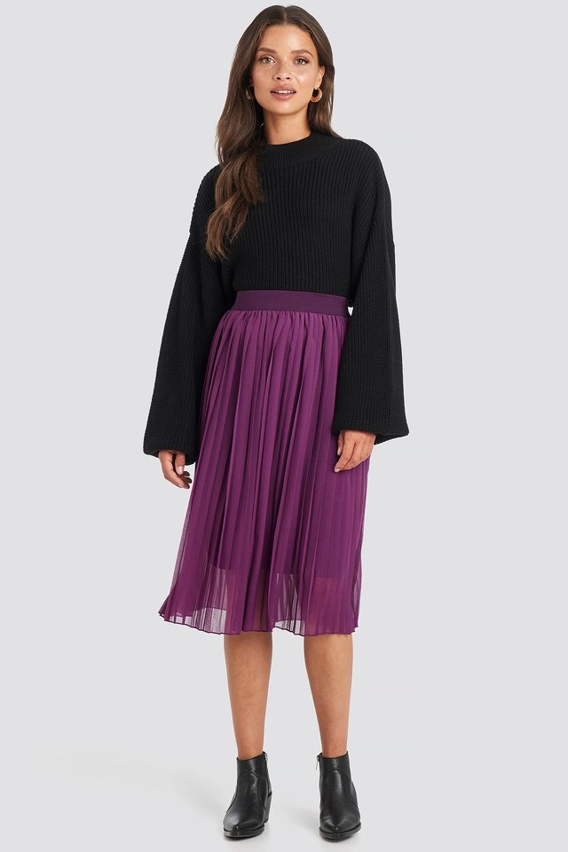 Midi Pleated Skirt Grape