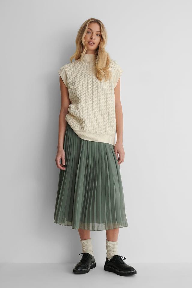 Midi Pleated Skirt Khaki