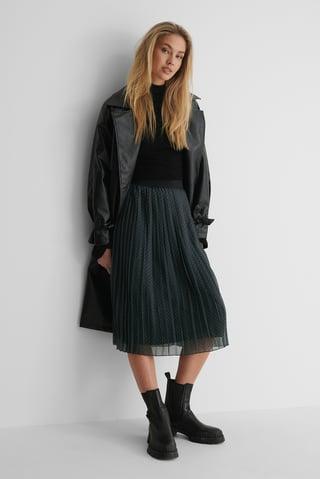 Grey Check Midi Pleated Skirt