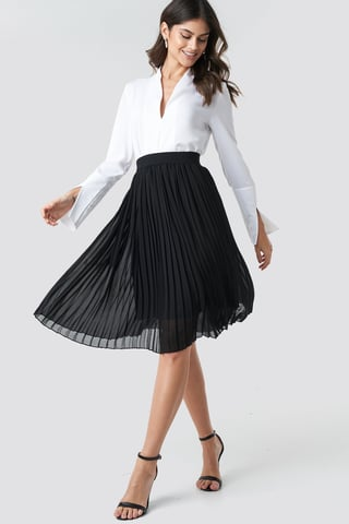 Black Midi Pleated Skirt