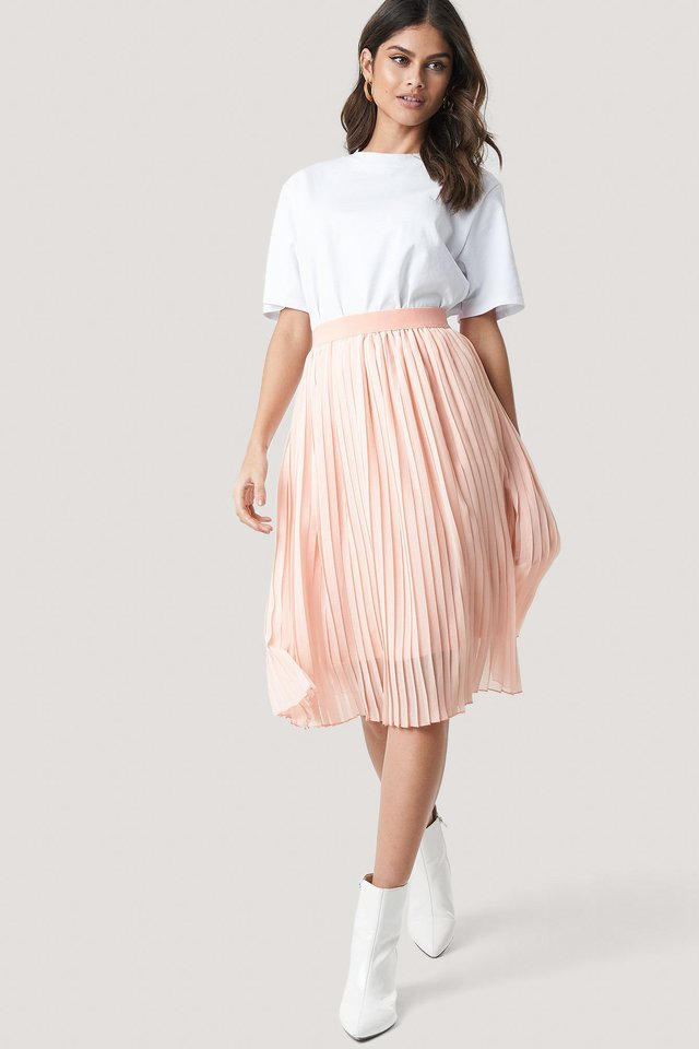 Rose Quartz Midi Pleated Skirt
