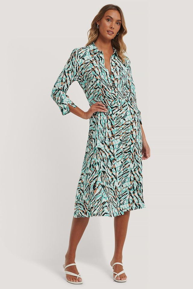 Multicolor Midi Shirt Dress