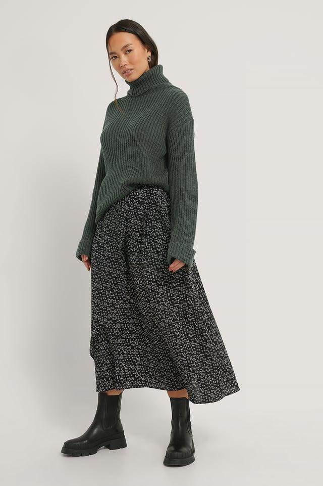 Black/White Flower Print Midi Wrapped Skirt