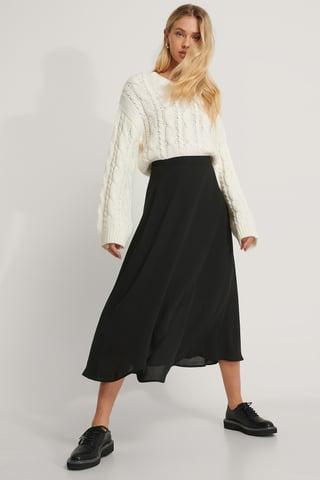 Black Midi Wrap Skirt