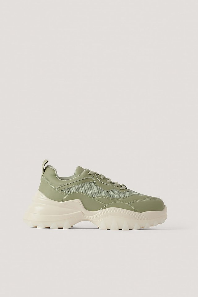 Khaki Milky Rubber Sole Trainers