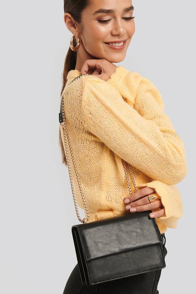 Mini Chain Detail Flap Bag Black