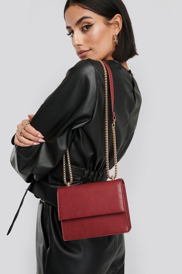 Mini Chain Detail Flap Bag Dusty Red
