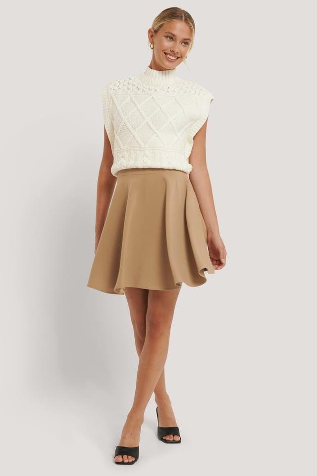 Mini Circle Skirt Beige