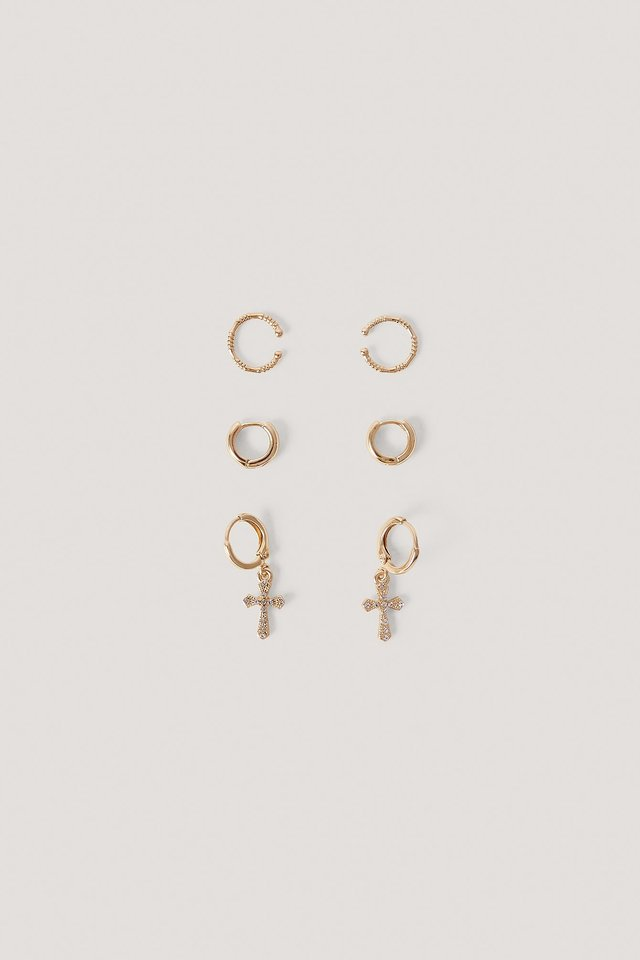 Mini Cross Earring Set Gold