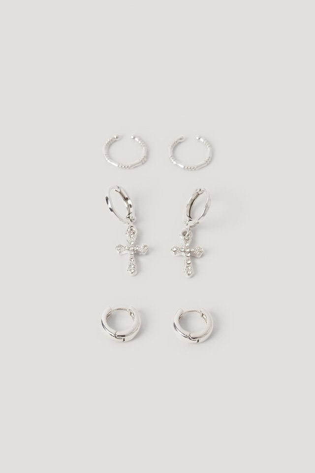 Mini Cross Earring Set Silver