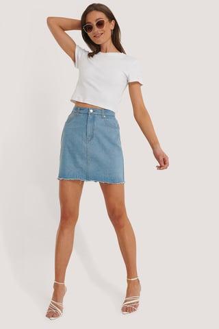 Light Blue Mini Denim Skirt