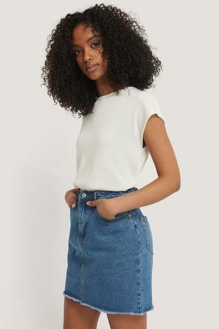 Mid Blue Mini Denim Skirt