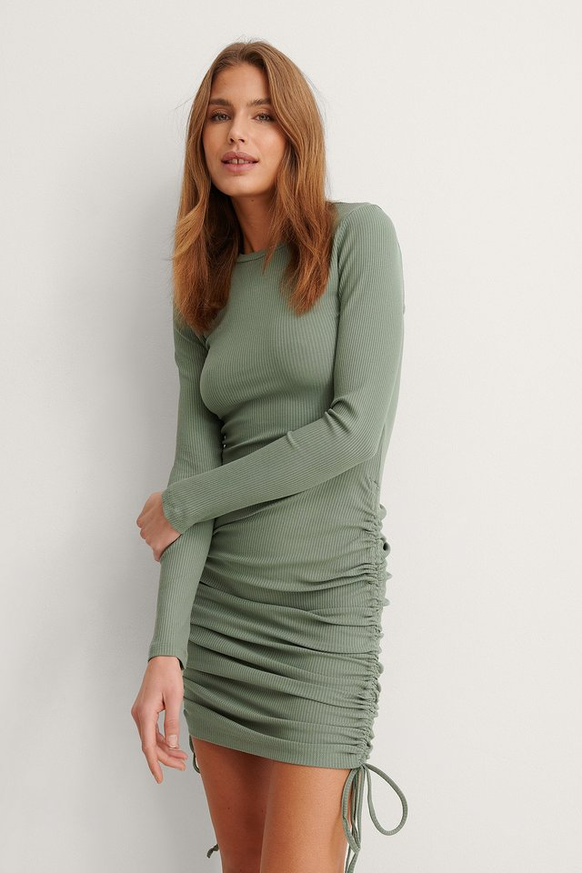 Khaki Mini Drawstring Dress