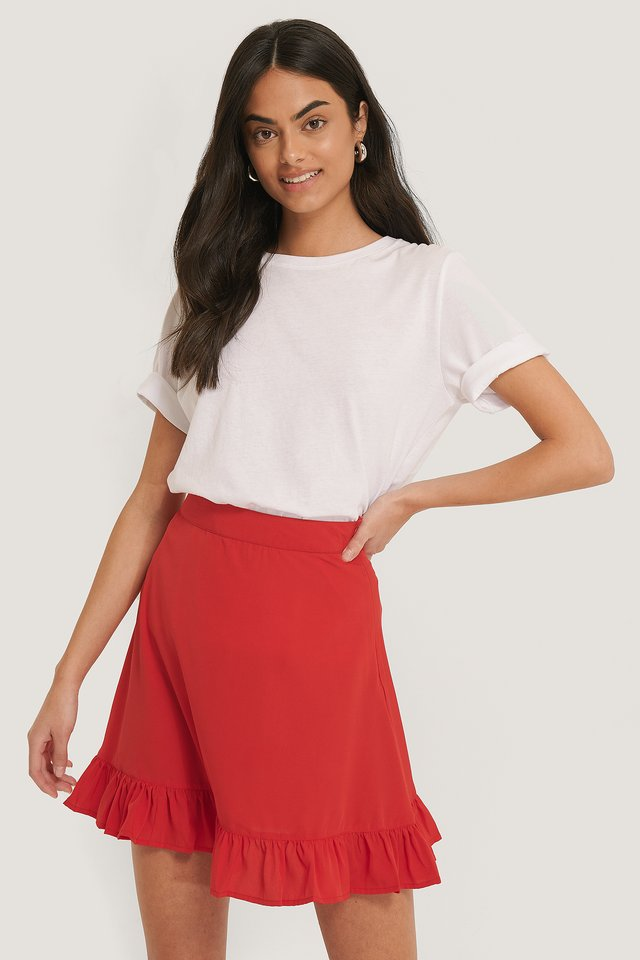Mini Flounce Skirt Red