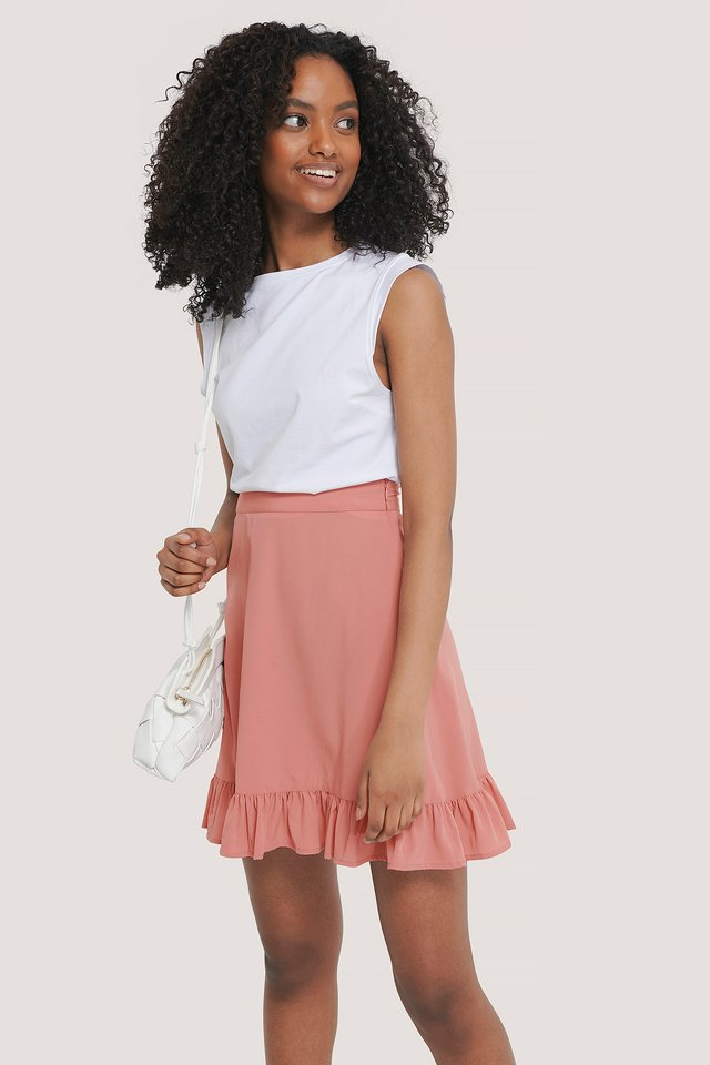 Mini Flounce Skirt Rose Tan