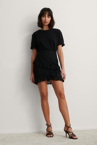 Black Mini Frill Lace Skirt