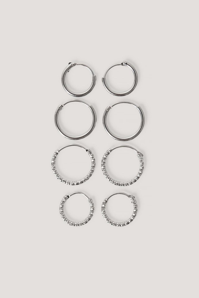 Mini Hoop Earring Set Silver