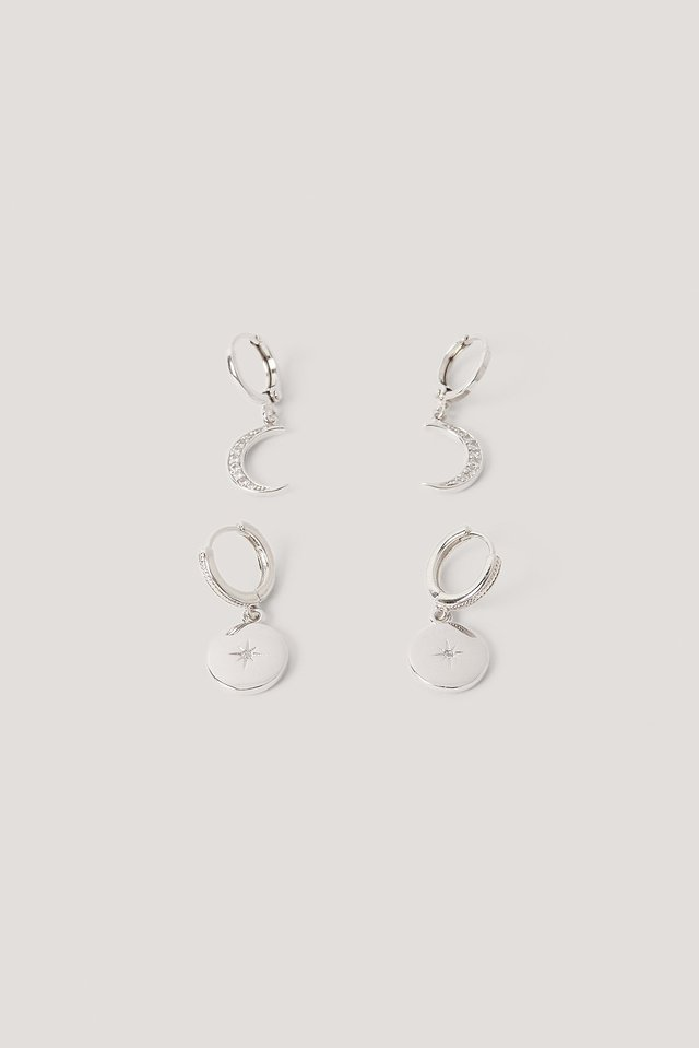Silver Mini Moon And Star Pendant Earrings