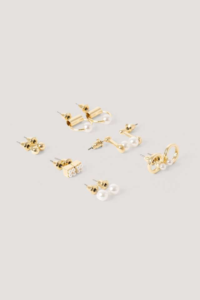 Mini Pearl Earrings Set Gold