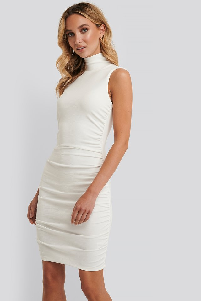 Mini Pleated Dress Offwhite