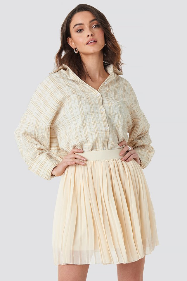 Mini Pleated Skirt Beige