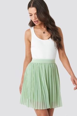 Green Mini Pleated Skirt