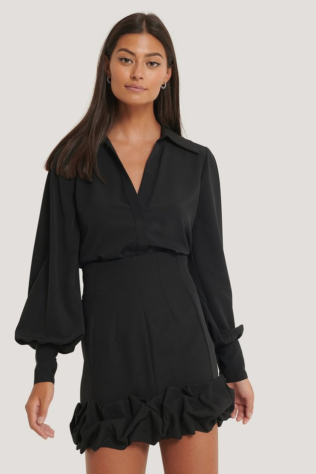Black Minikjol Med Krås