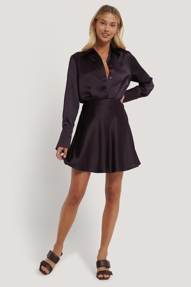 Mini Satin Skirt Plum